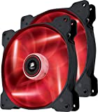 Corsair CO-9050034-WW Air Series SP140 LED 140mm  Low Noise High Pressure LED Fan Dual Pack, Red