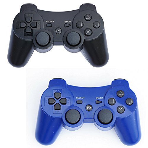 PS3 Controller Wireless 2 PCS Double Shock Gamepad für Playstation 3, Sixaxis Wireless PS3 Controller Black + Blue