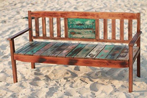 Outflexx 3-Sitzer Gartenbank, Fishboat-Holz, braun, 160 x 60 x 90 cm - 2