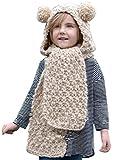 Belsen kinder Winter Baby Ohren tragen strickmütze Nett Cap Umhang Lätzchen Schal (Beige)