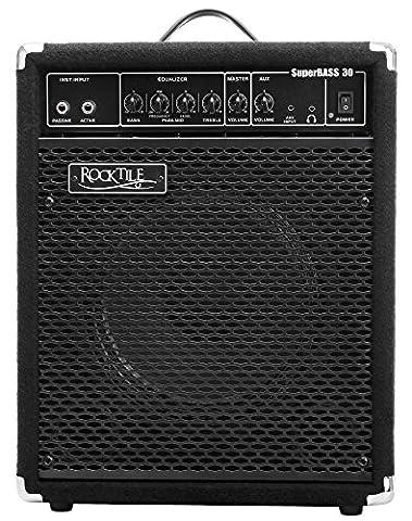 Rocktile SB-30 SuperBass30 Bassamp Verstärker (30 Watt, Bassverstärker Combo, 25,4 cm (10 Zoll) Speaker, 3 Band EQ, Anschluss Kopfhörer, Effektschleife, Instrumenteneingänge Passive/Active)