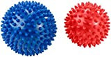 newgen medicals Igelball: 2 Massagebälle mit Noppen für Reflexzonenmassage u.v.m, Ø 9 & 7,5 cm (Noppenball)