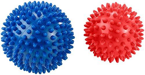 newgen medicals Selbstmassageball: 2 Massagebälle mit Noppen für Reflexzonenmassage u.v.m., Ø 9 & 7,5 cm (Massagekugeln) (Viel Stress-ball)
