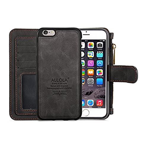 iPhone 6/6s Leather Case,M-explorer Wallet Case Magnetic Detachable Multifunctional Large Storage For Apple iPhone 6/6s 4.7 Inch