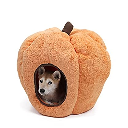 Speedy Pet Dog House Indoor Halloween Pumpkin Cat Cave Soft Fleece Warm Bed with Removable Cushion Non-Slip and Durable… 1