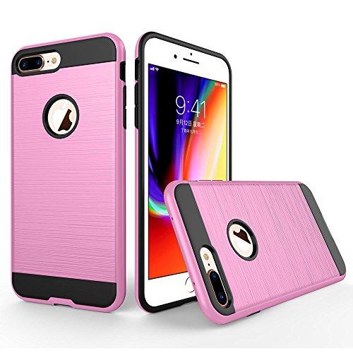 UKDANDANWEI Apple iPhone 8 Plus Hülle,Super Schild Hohe Gel Silikon Haut Slim Fit Zurück Schale Abdecken Schutzhülle Case Cover für Apple iPhone 8 Plus - Grün Rosa