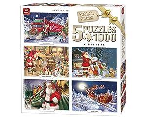 King 5219 - Puzzles de Navidad 5 en 1, 5 Puzzles de 1000 Piezas, 68 x 49 cm, pósteres incluidos.
