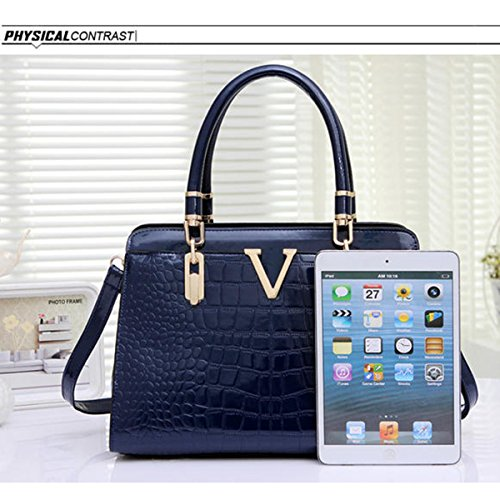WU ZHI Dame Crocodile Pattern Schultertasche Messenger Bag Middle Age Mutter Tasche Handtasche Handtasche Blue