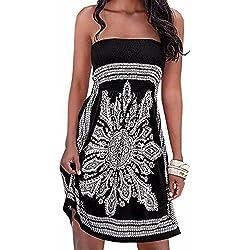Verano sin tirantes de hombro mujer bohemia falda casual estampado floral colorido mini vestidos de playa,EMMA(BL,S)