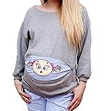 Schwangerschaftsshirt Baby Lustig Langarm Sweatshirt Umstandsshirt Trachten Shirt für Schwangere Schwangerschaft Bluse Grau/5XL