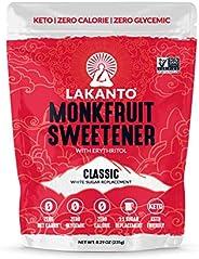 Lakanto Monkfruit Sweetener, 1:1 Sugar Substitute, Keto, Non-GMO (Classic White - 8.29 Ounces)