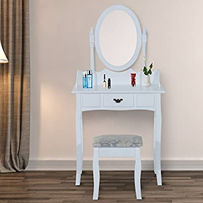 HOMCOM Wooden Dressing Table Vanity Set Makeup Shabby Chic Vintage Style Jewelry Cosmetic Storage Drawer Padded Seat w/ Mirror & Stool - inexpensive UK light shop.