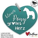 Pferde Glücksmarke - kleines Pony großes Herz türkis – Gücksbringer - Soulhorse Anhänger Halfter, Trense, Zaumzeug, Sattel, Vorderzeug