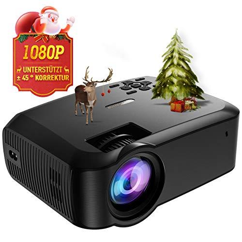 Mpow Beamer, tragbare LED-Projektor mit höherer Auflösung und Helligkeit, unterstützt 1080P und vertikale Trapezkorrektur von ± 45 °, ideal für Heimkino, Party und Spiele