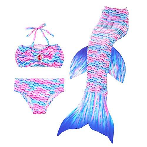 23a48b39bb2c Everpert Costumi da Bagno Ragazza da Sirena 3Pcs Coda da Sirena per  Nuotare, Set Kids