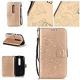Jepson Motorola Moto G3 (5 pouces) coque , PU Cuir Portefeuille Etui Housse Case Cover , carte de crédit Fentes pour , L'utilisation de la technologie de pointe , gaufrage , cristal de diamant - Fleur - Butterfly , idéal pour protéger votre téléphone ,