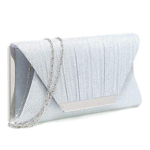 BGMIX Damen Glänzende Umschlag Clutch Bag Pailletten Abendtasche Clutch Geldbörse Brauttasche Ehebeutel Crossover Schultertasche funkelnd Abendhandtasche Balltasche, Silber - Silver-2 - Größe: Small