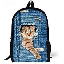 ALIKEEY 3D Print Animal Gato Perro Backpack Student School College Bolsas De Hombro