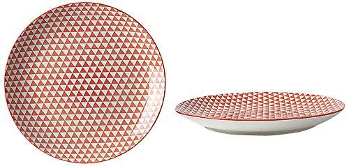 Fill 21331 Set de 4 assiettes en grès - collection Althea - motif triangle rouge