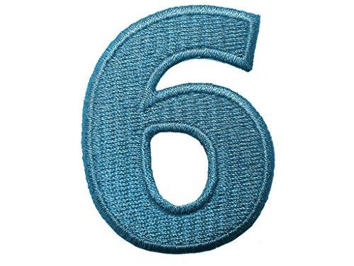 Aufnäher/Aufbügler - Zahl/Ziffer blau - Alle Zahlen einzeln auswählbar, Zahl/Ziffer:Zahl 6 - 4.9x3.7cm -