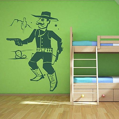 azutura Sheriff Wandaufkleber Szene Cowboy Wandtattoo Jungen Schlafzimmer Wohnkultur verfügbar in 5 Größen und 25 Farben X-Groß Ozean Blau (Ozean-szenen Wandtattoos)
