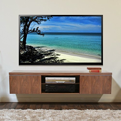 Lisbon Tv Entertainment Unit Stand Floating Tv Stand Walnut Veneer Wide Tv's Upto 65