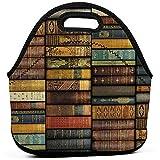 Lunch Tote Vintage Bücher Gourmet Tote Lunchbox Thermisches Mittagessen Tragbares Neopren Isoliert Tragetasche Picknick Aufbewahrungstasche Lebensmitteltasche Handtasche Kühler Warme Tasche Einka