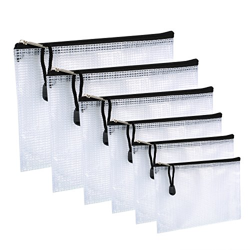 Multi-tasche Reißverschluss (6 Stück Multi Größe Reißverschluss Datei Taschen Papier Dokument Tasche Mesh Dokumente Beutel mit Reinigungstuch für Organisationsbedarf, Kosmetik, Reise Zubehör)
