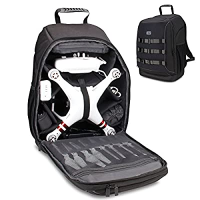 Accessory Power Drone Backpack Travel Carrying Bag by USA Gear - For DJI Mavic Pro, Spark, Yuneec Breeze, RC Quadcopters & More - Water & Impact Resistant, Customizable Interior, Padded Protection from Accessory Power