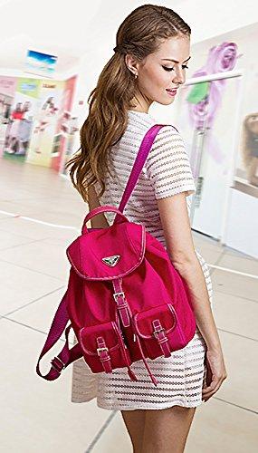 CLOTHES- Borsa a tracolla Versione coreana del taschino impermeabile Oxford Canvas Zaino di viaggio Leisure di nylon ( Colore : Blu ) Rose red