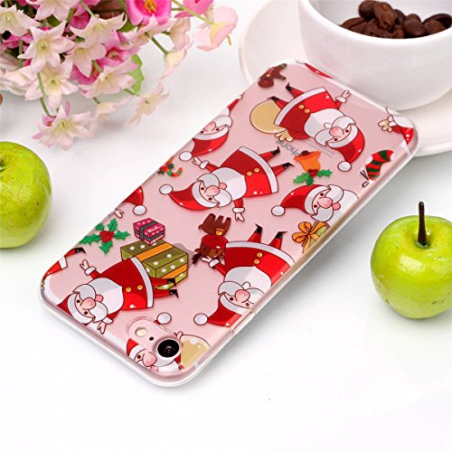 Christmas Hülle iPhone 7 / iPhone 8 LifeePro Weihnachts Cover Ultra dünn Weiches Transparent TPU Gel Silikon Handy Tasche Bumper Case Anti-Scratch Back Cover Full Body Schutzhülle für iPhone 7 / iPhon Santa
