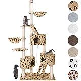 Happypet® Kratzbaum für Katzen Deckenhoch 230-260 cm extra Dicke Säulen mit Sisal ca. 8,0 cm Höhlen Liegemulden Treppen Spielseil Beigepfote