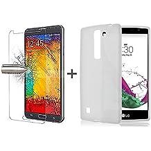 TBOC® Pack: Funda de Gel TPU Transparente + Protector Pantalla Vidrio Templado para LG G4c H525n (LG G4 Mini). Funda de Silicona Ultrafina y Flexible. Protector de pantalla Resistente a Golpes, Caídas y Arañazos.