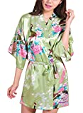 DELEY Femmes Robe de chambre Exotique Paon Fleur Kimono Satin Soyeux Peignoir Chemise de Nuit Courte Taille 2XL Vert