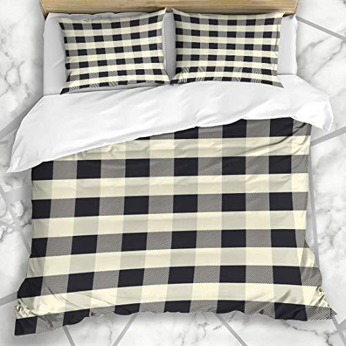 Schwarz Weiß Karo Check Flanell (Soefipok Bettbezug-Sets Abstrakt Grau Karo Scott Muster Schwarz Buffalo Vintage Check Flanell Lässig Kariert Klassische Mikrofaser Bettwäsche mit 2 Kissenbezügen)