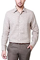 Peter England Beige Slim Fit Shirts_ISF51600883_42