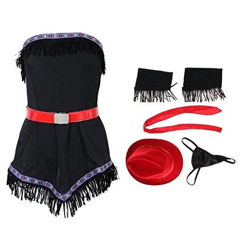 Cowgirl Set Kostüm - Tubayia Western Cowgirl Kleid Damen Kostüm Set für Cosplay Party Karneval Halloween