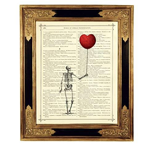 lon Gothic Kunstdruck auf viktorianischer Buchseite Geschenk Halloween Valentinstag Steampunk ungerahmt ()