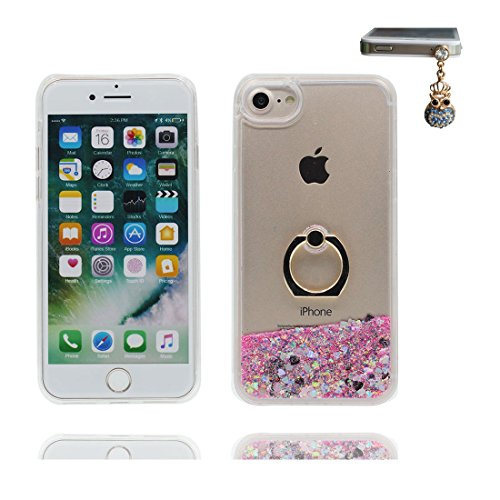 """Hülle iPhone 7, iPhone 7 Handyhülle Cover (4.7 zoll), [Liquid Fließendes Glitzer Bling Bling lila Floating sparkles] iPhone 7 Case Shell (4.7"""") Ring Stand - Anti-Beulen & Staubstecker # 3"""