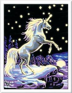Ravensburger Spiel 29397 - Juego de Pintar guiado por números, diseño de Unicornio a la luz de la Luna
