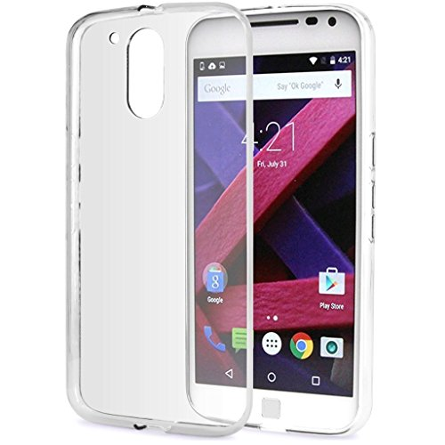 CEDO Premium Transparent clear white Silicon Flexible Soft TPU Slim Back Case Cover For Moto G Plus 4th Gen (G4 Plus / 4th Generation)