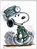 Original Feder und Aquarell auf Aquarellkarton: Peanuts Doctor Beagle II/24x32 cm