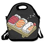 xiisxin Sleeping Cute Sushi almuerzo Tote Bag–grande y grueso con aislamiento bolsa–Traje para Hombres Mujeres Niños