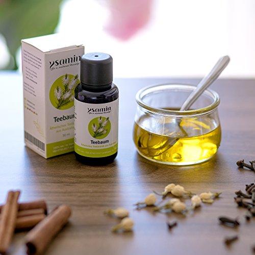 100% Teebaumöl 30ml Australien Naturrein | gegen Akne, Pickel, unreine Haut, Fußpilz, Mundgeruch, Mückenstiche ISO 4730-2017 Standard in Violettglas von Ysamin - 6