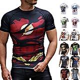 Khroom T-Shirt de Compression de Super-héros pour Homme | Vêtement Sportif à Séchage Rapide pour Fitness, Gym, Course, Musculation | Matériel Extensible et Ventilé Anti Transpiration (Flash, XL)