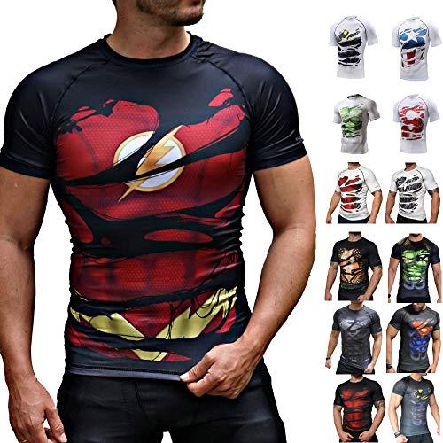 Khroom Hochwertiges Herren Funktionsshirt | Perfekt für Fitness & Gym - Kompressionsshirt im stylischen Helden Design (Flash schwarz, M)