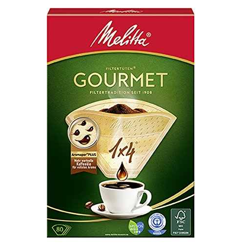 Preisvergleich Produktbild Melitta Gourmet Filtertüten, AromaporenPlus, Naturbraun, 4er Pack (4 x 80 Stück)