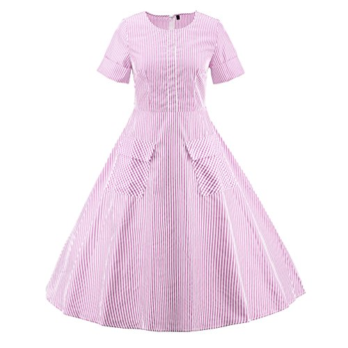YouPue Femmes 1950's Style Robe Rockabilly Manche Courte Rétro Rayures Bowknot Robes de Soirée Rose