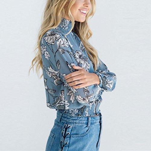 WOCACHI Damen Frühling und Herbst Blusen Mode Frauen Langarm Turtleneck Weiß mit Blumenmuster Chiffon Blau Tops Bluse Shirt Blau