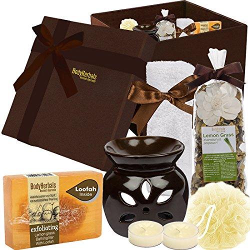 Bodyherbals-Lemongrass-Soap-Spa-Set-Lemon-Grass-Bathing-Bar-With-Natual-Loofah-100-Grams-Bath-Puff-Aroma-Big-Diffuser-Terry-Towel